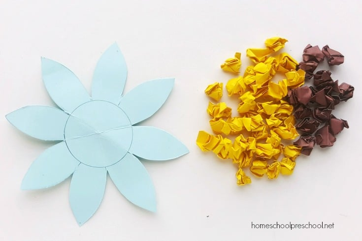 This summer, work on fine motor skills with this crumpled paper sunflower preschool craft. It's perfect for little ones and looks great on display!
