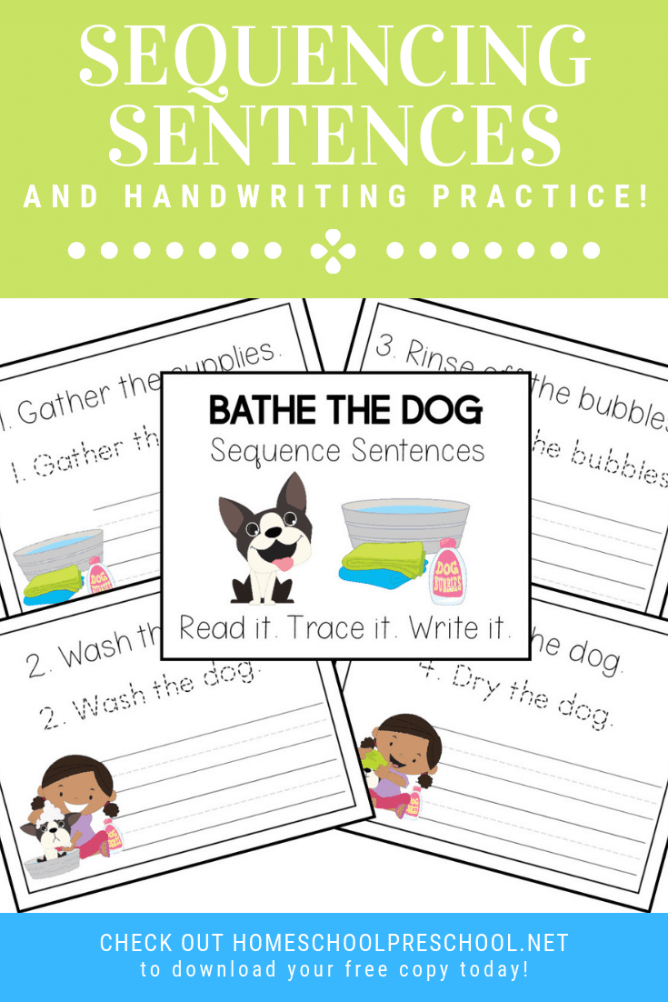 These Bathe the Dog sentence sequencing activities are perfect for preschool and kindergarten kiddos. Practice handwriting and sequencing at the same time!