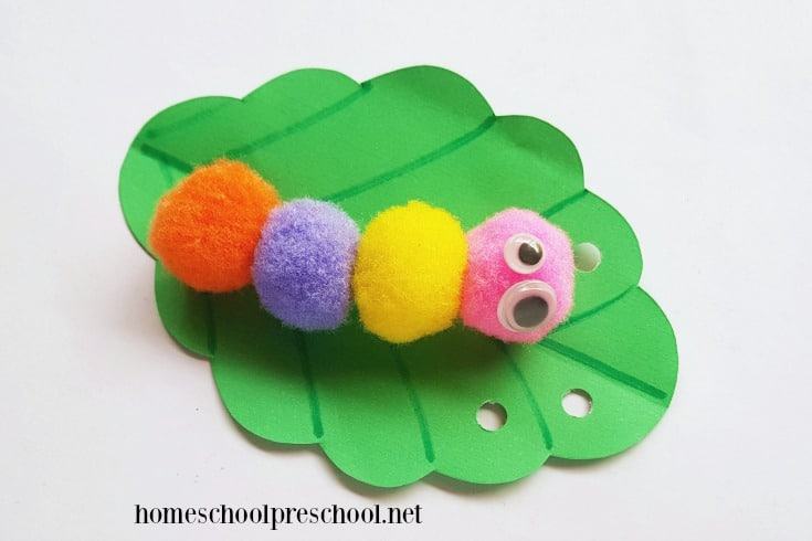 Looking for an easy caterpillar preschool craft? Our simple pom pom caterpillar craft includes a printable template, making it perfect for home and school.