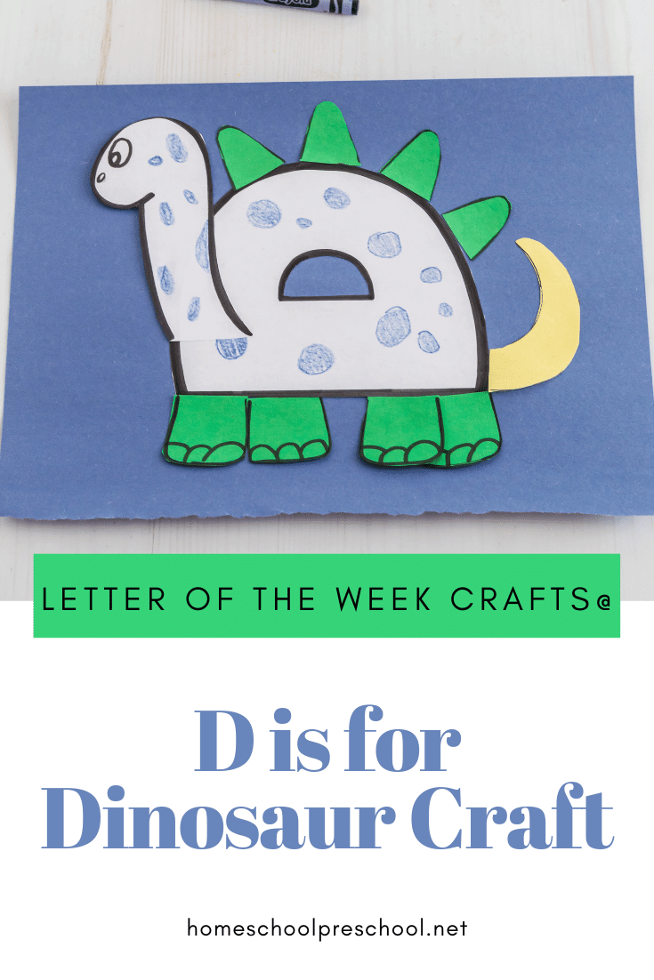 Add this letter D dinosaur craft to your dinosaur themed activities. It's also a great addition to your Letter of the Week activities, as well.
