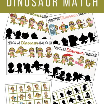 Dinosaur Matching Game Printable