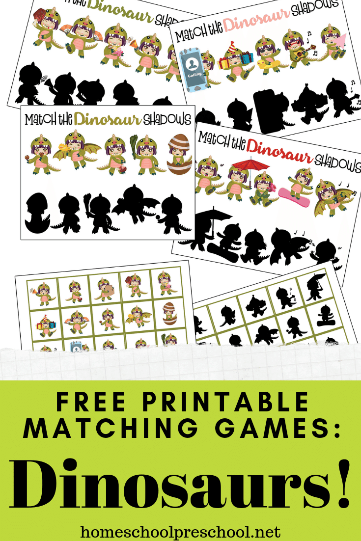 What child doesn't love dinosaurs? Kids love them, and they'll love this dinosaur matching game printable that helps develop visual discrimination skills!
