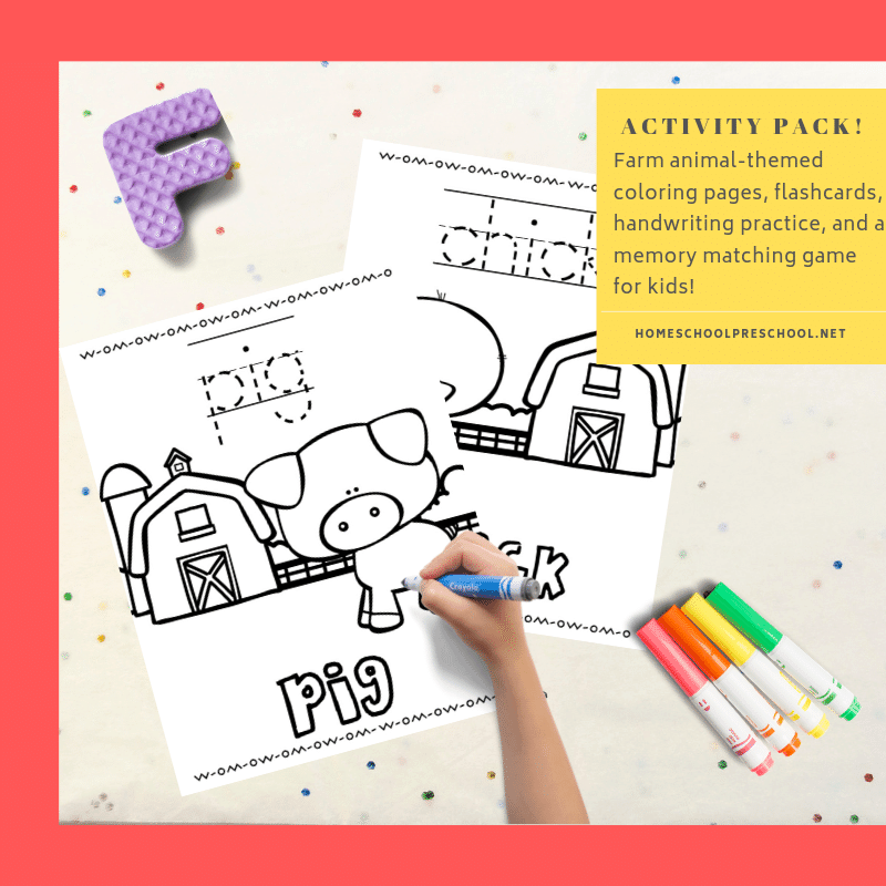 Free farm animals activities for preschoolers! Entertain your kids with a fun farm-themed activity pack with coloring pages and games!
