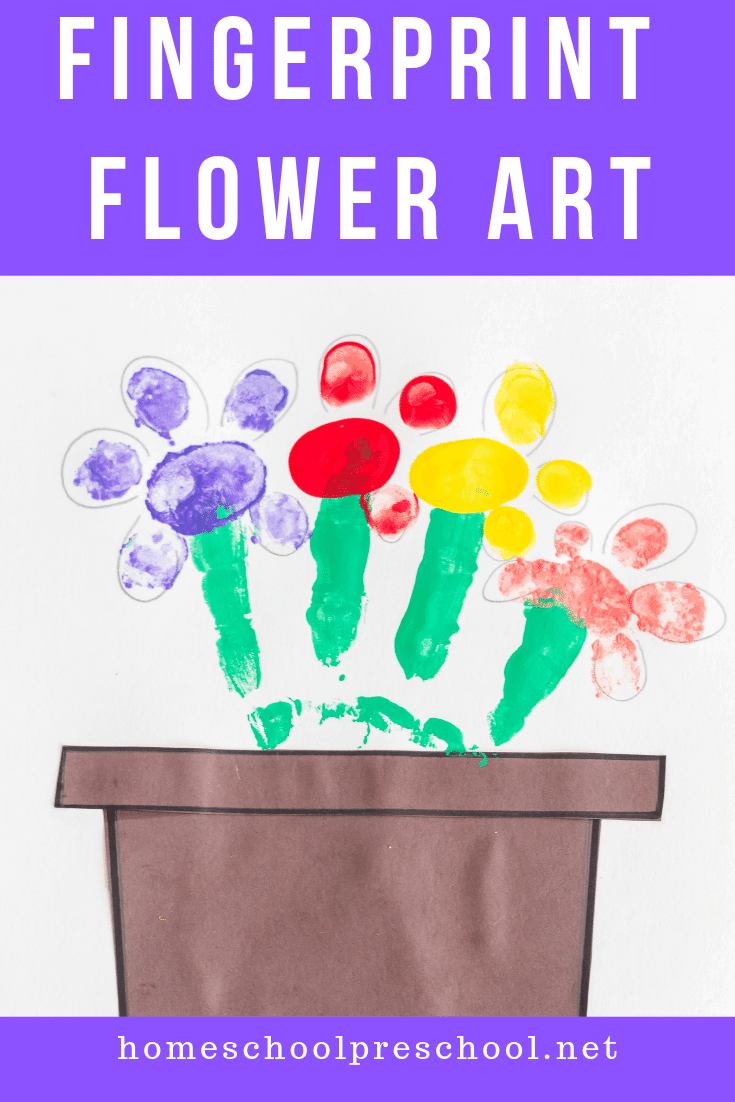 These fingerprint flowers are simple enough for toddlers and preschoolers to make. This craft makes a great gift or keepsake for Mother's Day, as well.