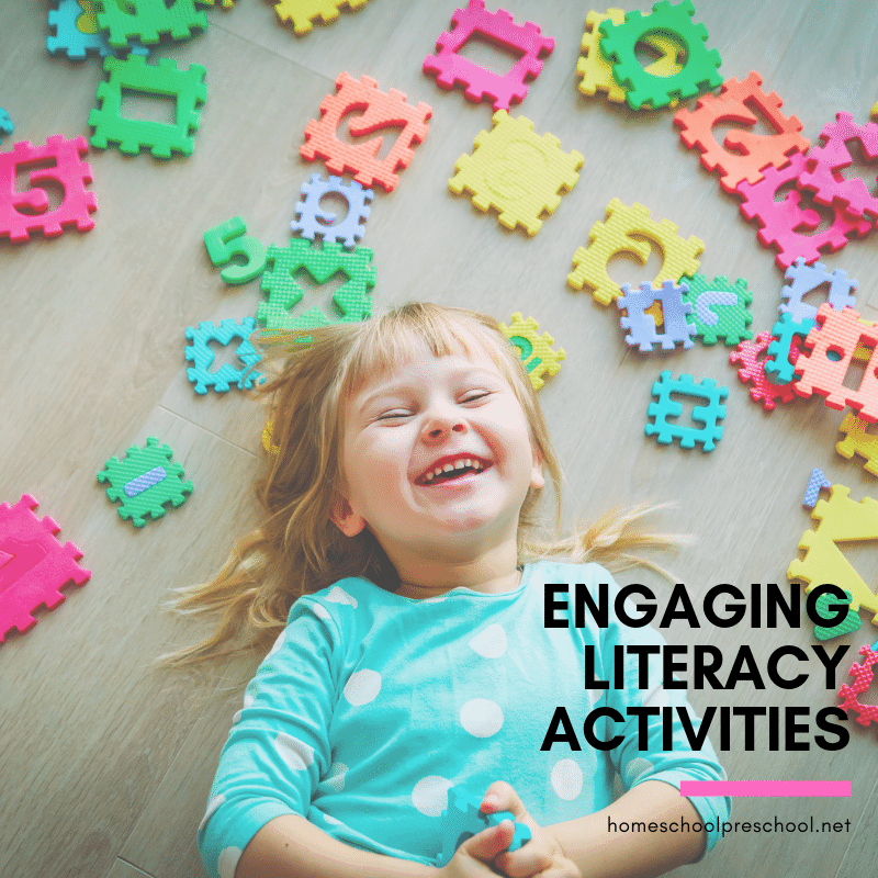 Build your preschoolers reading skills with one or  more of these literacy activities for preschoolers. Find crafts, printables, book lists, activities, and more.