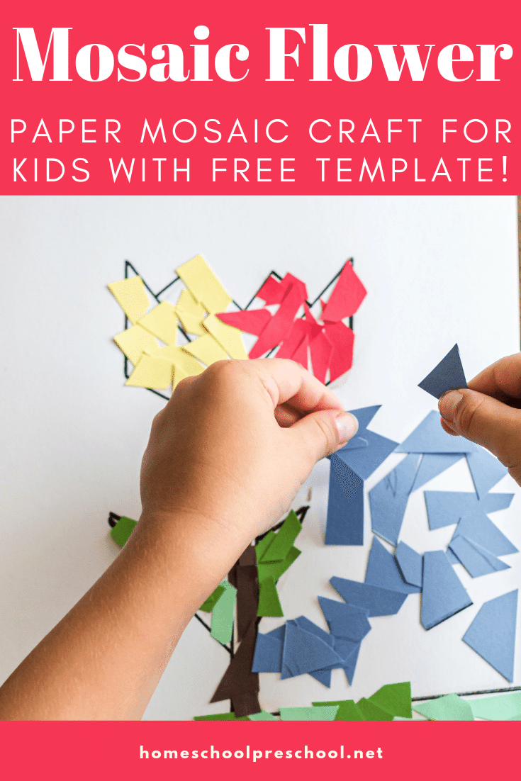Paper mosaics are simple and easy crafts for kids of all ages. This paper mosaic flower craft is a great project for the spring and summer.