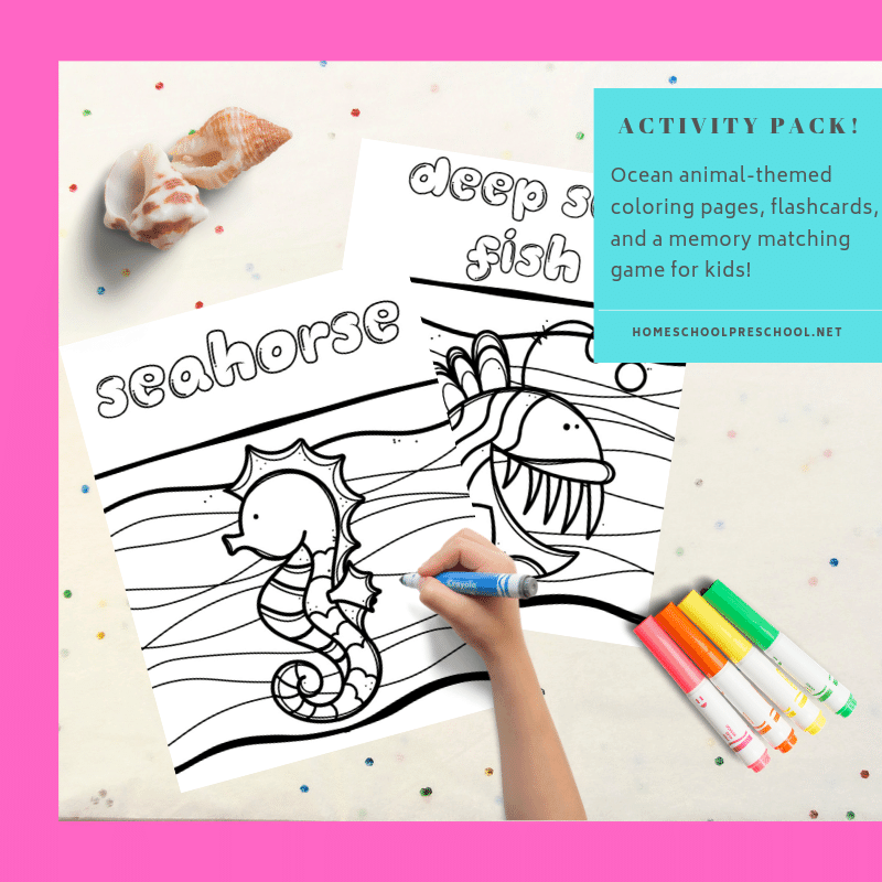 Free ocean coloring pages for preschoolers! Keep kids occupied this summer with a fun ocean-themed activity pack with coloring pages and games!