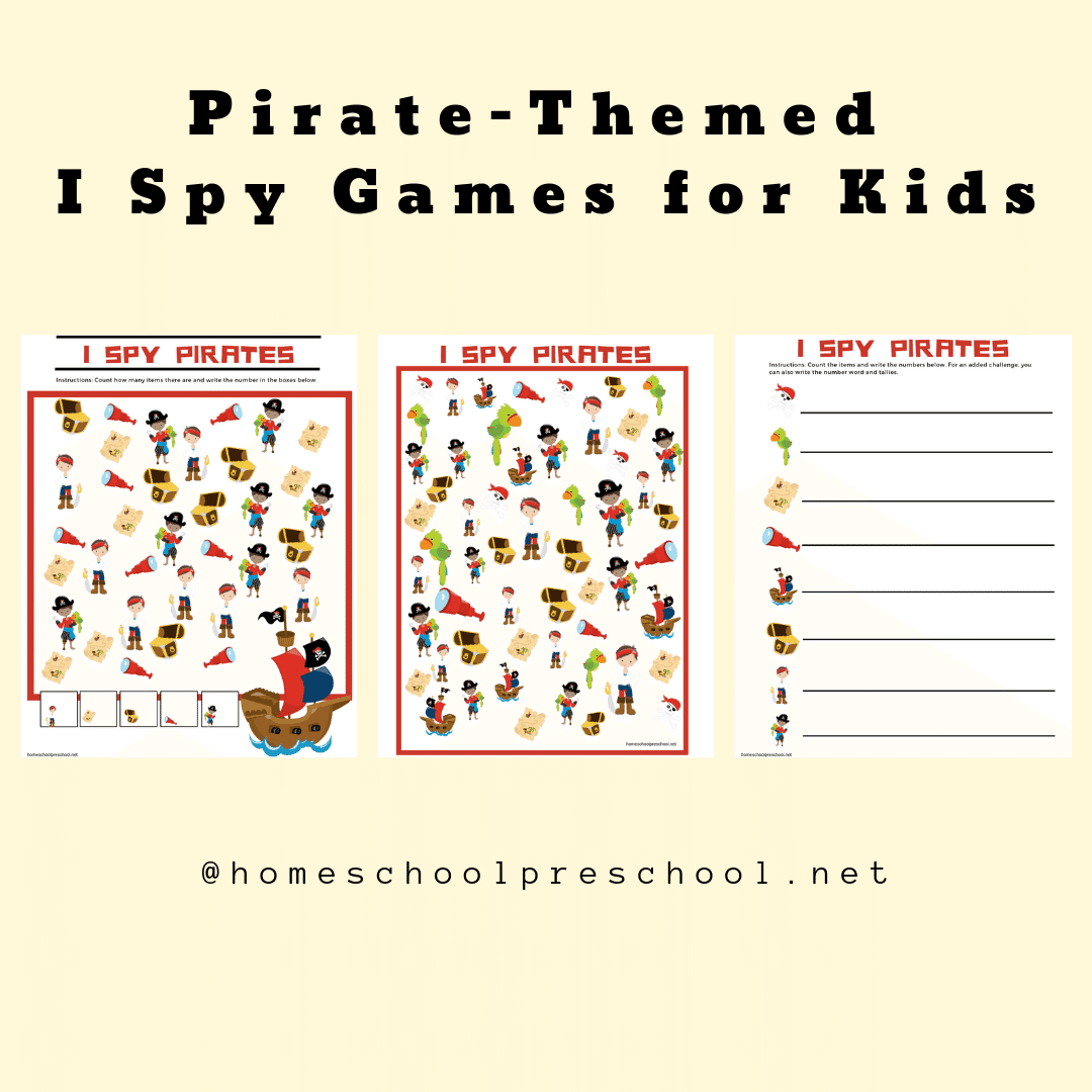 Are your kids into pirates? If so, they'll love this pack of I Spy pirate themed printables. There are two versions included in this pack.