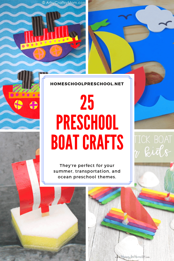 Choose one or more of these preschool boat crafts to add to your boat, transportation, or water themed preschool lesson plans.