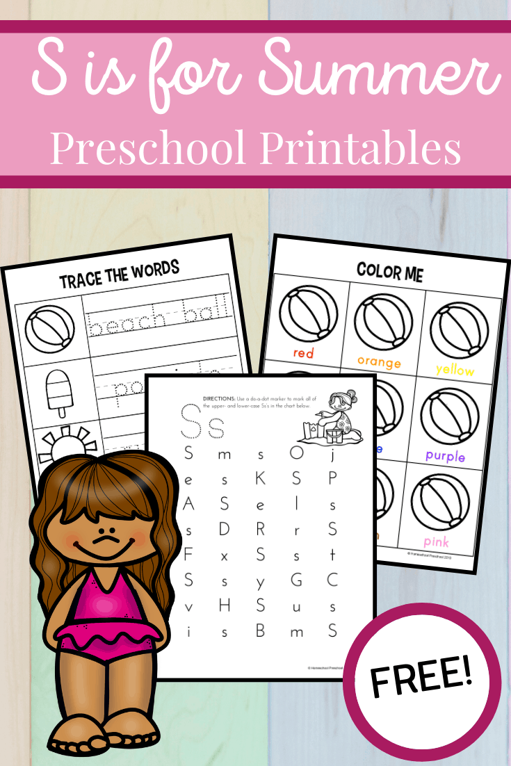 Download this free S is for Summer printable! It's packed full of fun math and literacy learning activities for preschoolers.