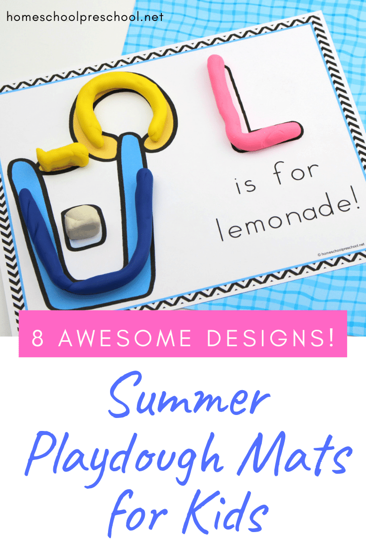 Build fine motor skills and creativity with these summer playdough mats! Print them all out and add them to your summer learning activities.