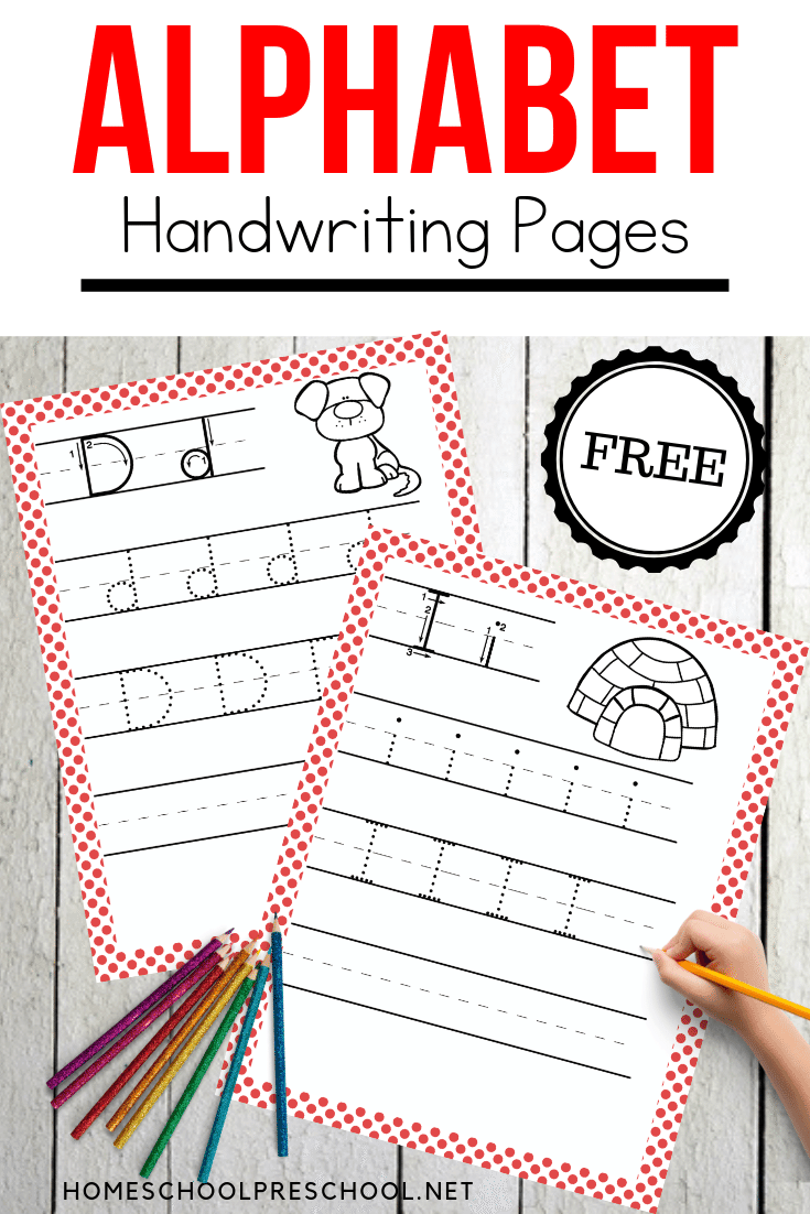 Use these pages to create a handwriting workbook for your little ones. These alphabet writing practice pages are perfect any time of year.