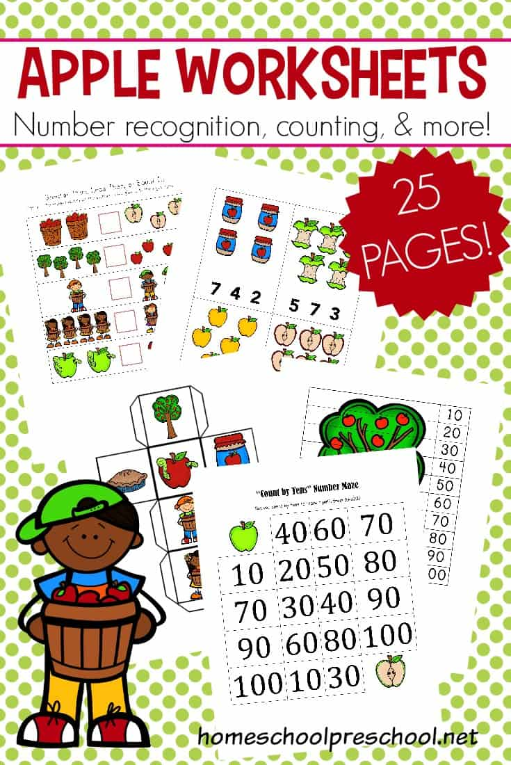 I love this set of FREE apple math worksheets for preschoolers! Number practice, counting, addition, subtraction, and more.