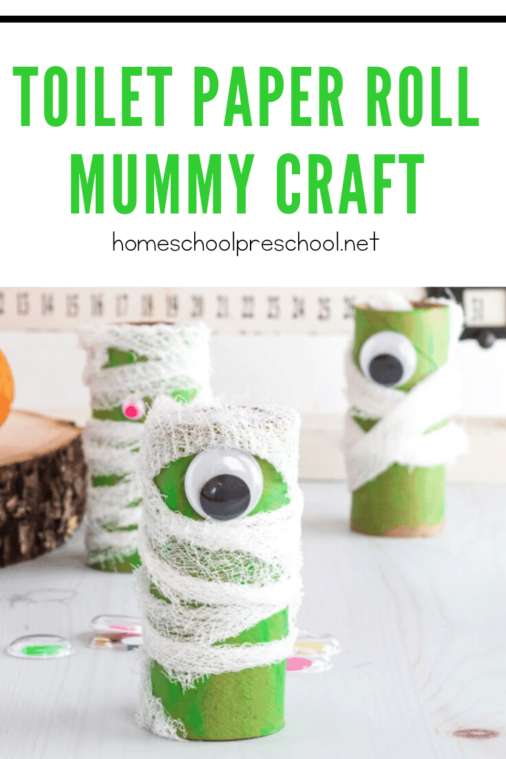 Halloween crafts are great, and this preschool mummy craft is no exception! Kids can build fine motor muscles as they wrap their cute mummies.