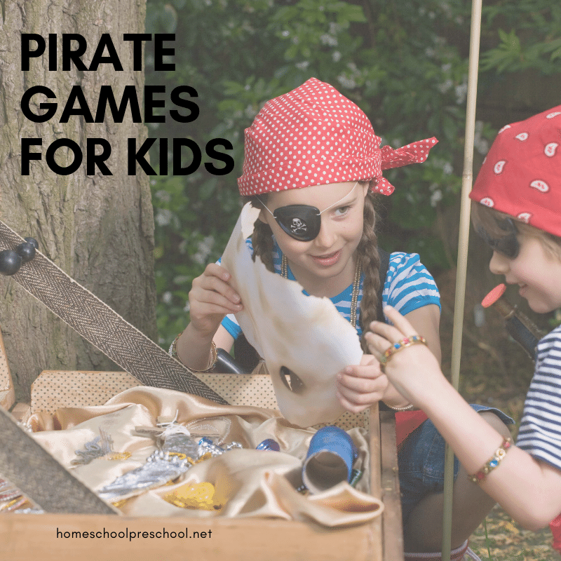 These pirate games for preschoolers are perfect for home and school. Add them to your upcoming pirate theme, or play them at a pirate birthday party!