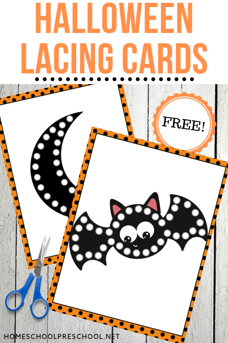 Grab this set of Halloween printable lacing cards for a fun fine motor activity for preschoolers! They'll love lacing these cards over and over again.