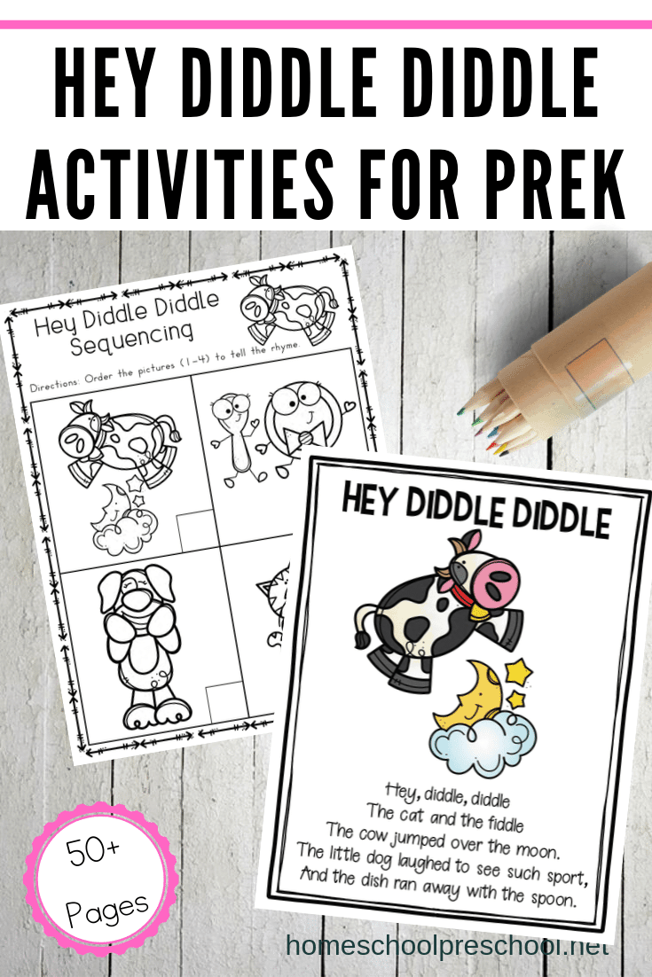 This Hey Diddle Diddle printable is designed to be used with children ages 3-7. This mini unit includes a variety of hands-on and worksheet activities.