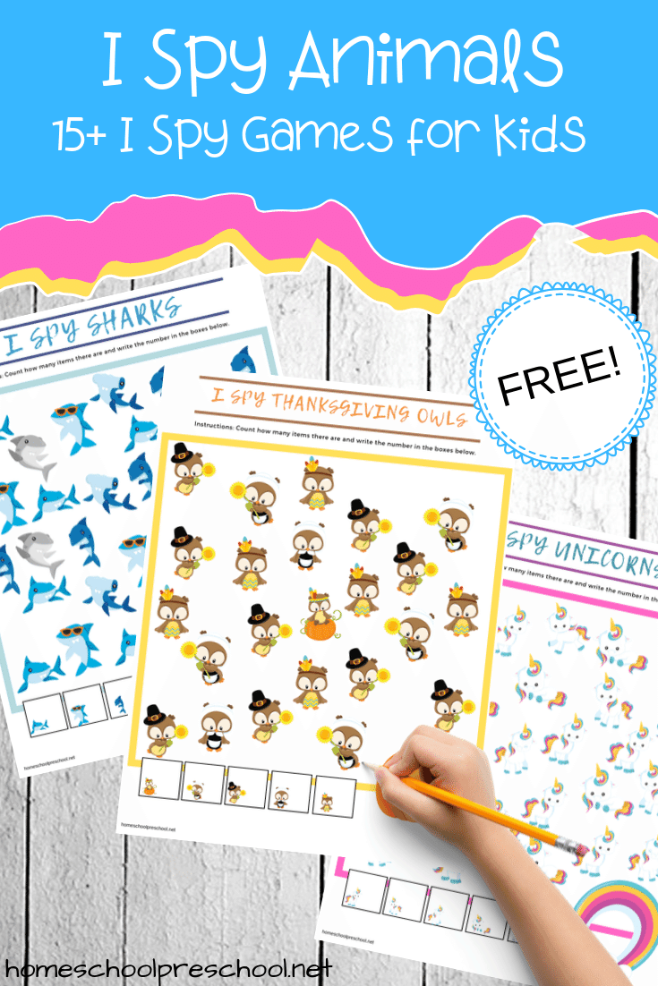 Don't miss this awesome collection of printable I Spy Animals games for kids! With more than fifteen animal themes to choose from, there's something for everyone!