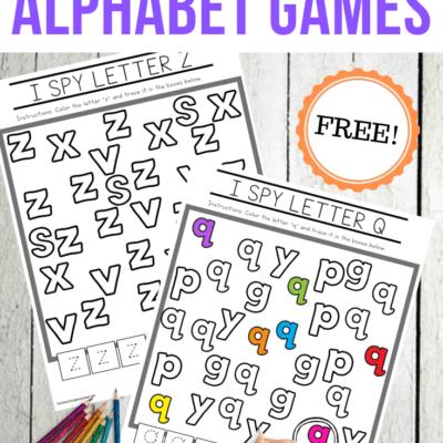 I Spy Letters Alphabet Worksheets