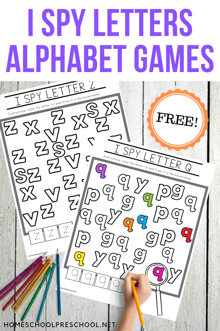 Download this free set of I Spy Letters alphabet worksheets. They will make a great addition to your preschool literacy centers.
