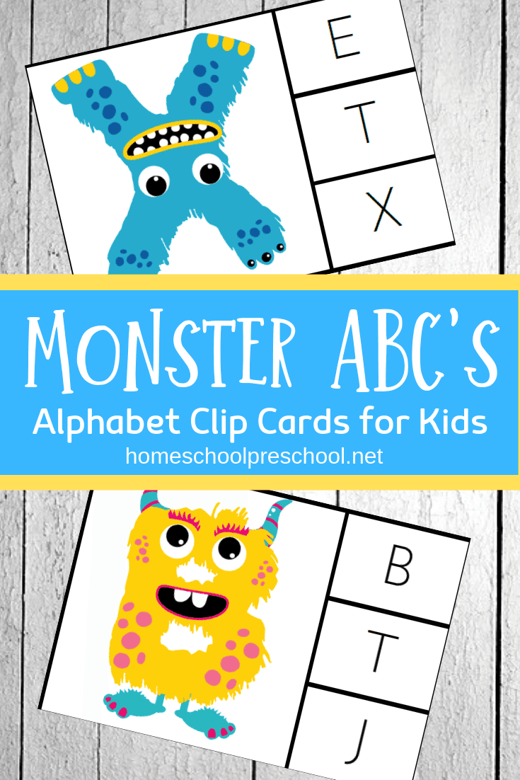Practice letter recognition and build fine motor skills with these free monster alphabet clip cards. They're super fun for little ones!