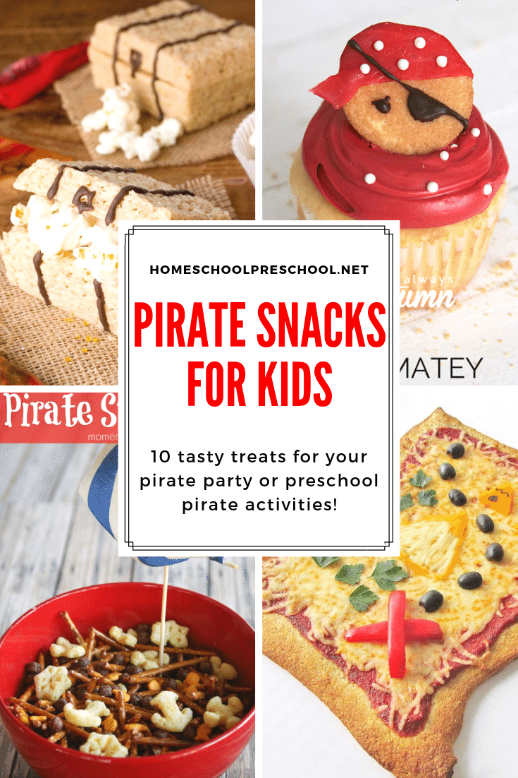 Fix one of these pirate themed snacks for preschool during your pirate-themed lessons. They're perfect for preschool parties, as well!
