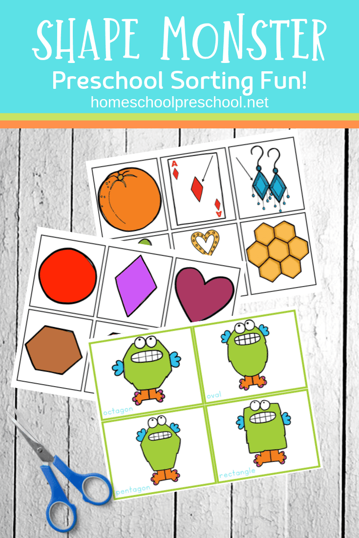 Here's a fun shape monster sorting activity for preschoolers! It's perfect for Halloween time, and can definitely be used all year long.