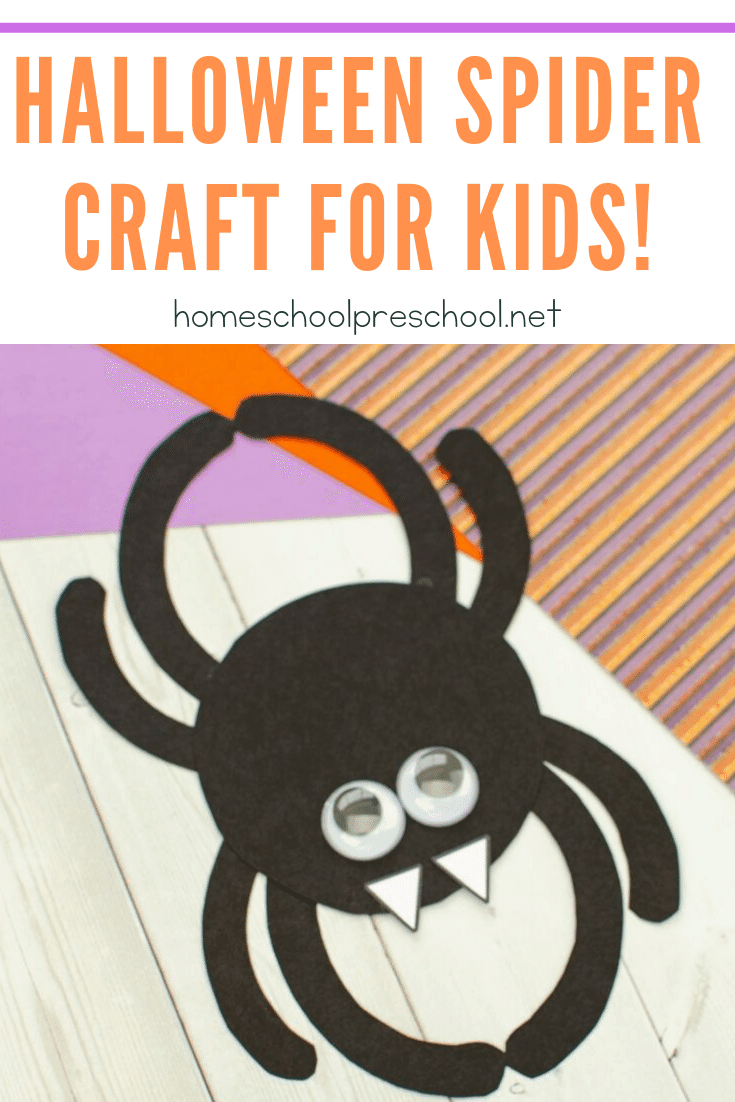 This preschool spider craft is perfect for October! As you head into Halloween, kids will love making this fun spider door hanger. The free template makes it a breeze!