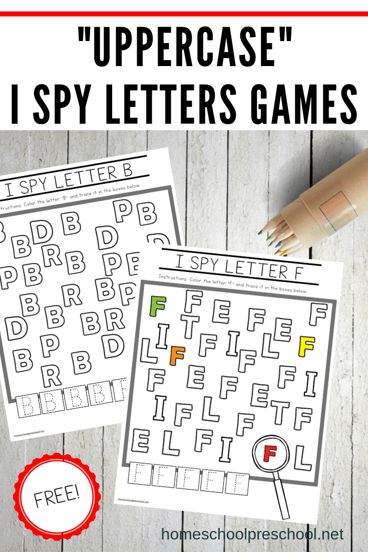 Download this set of uppercase I Spy Letter printable games. These alphabet worksheets are the perfect addition to your preschool literacy centers.