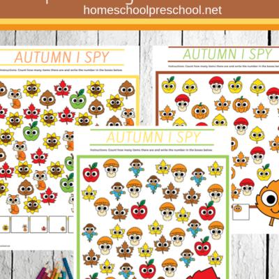Autumn I Spy Preschool Game