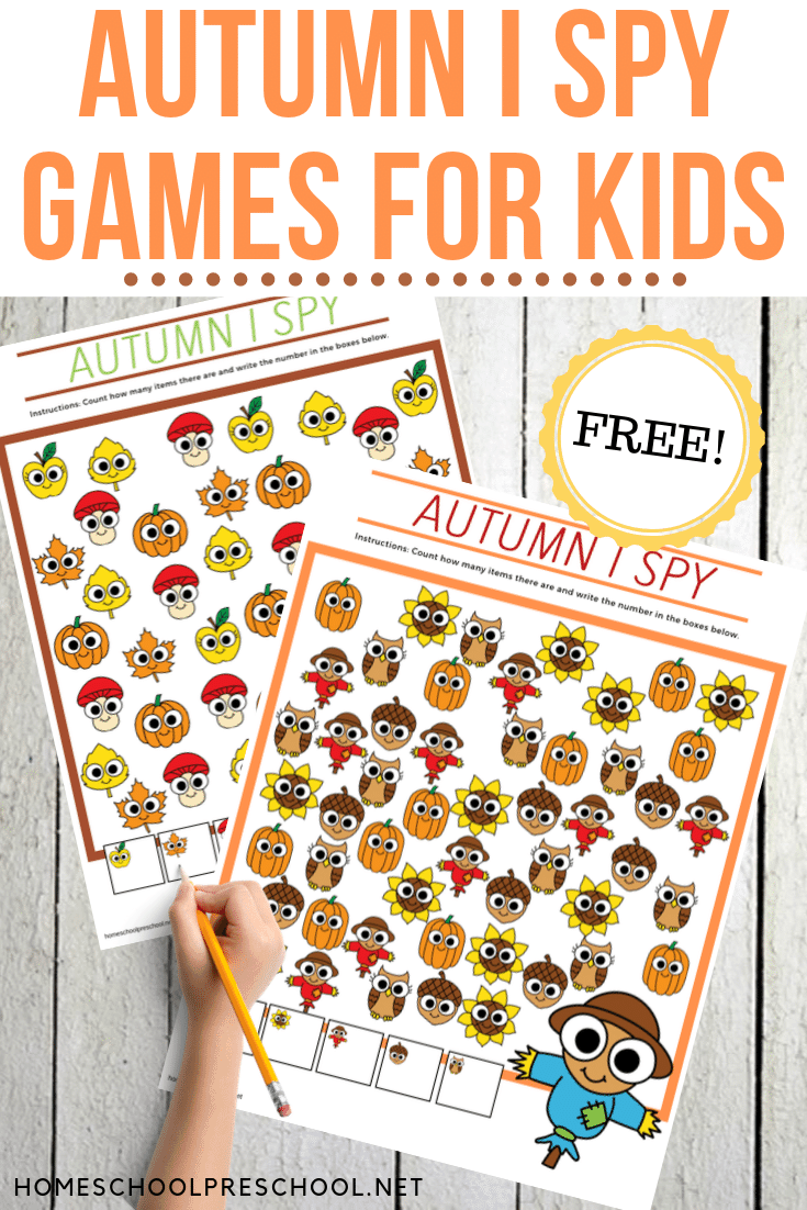 Don't miss your chance to download and print this Autumn I Spy Preschool Game pack! It's perfect for counting and visual discrimination for kids.