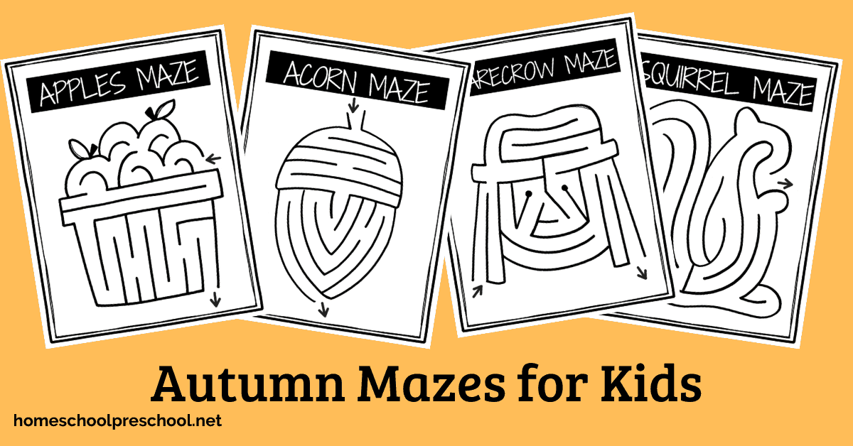 This autumn maze printable pack is perfect for working on fine motor skills as well as hand-eye coordination with a fun fall theme.