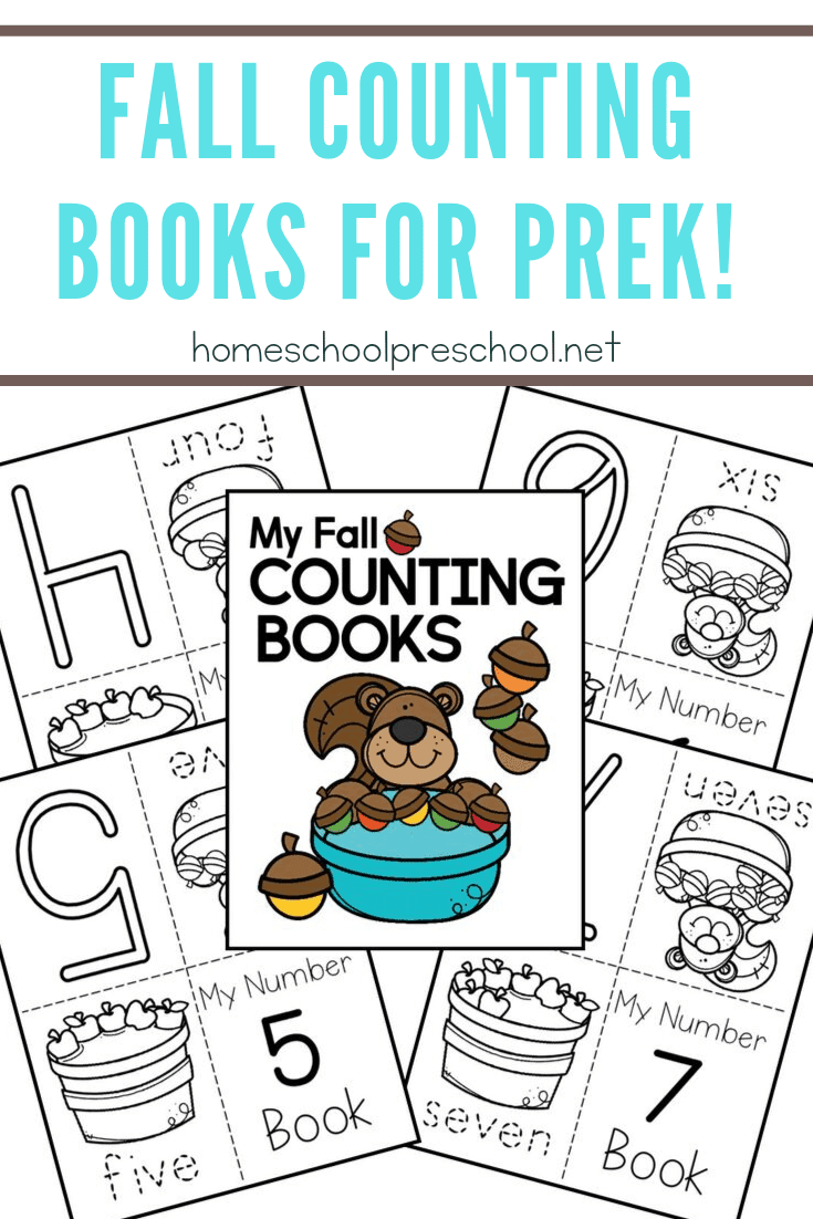 This autumn, encourage your little ones to practice counting to ten with these printable fall counting books featuring squirrels, acorns, and apples.
