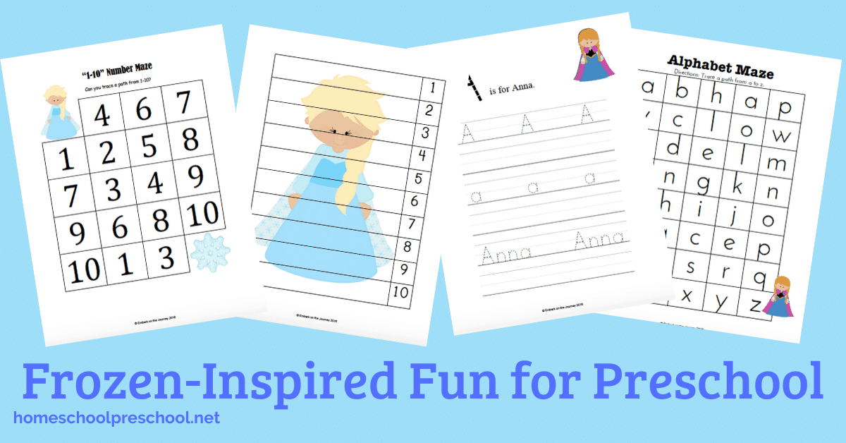 Frozen Crafts, Activities, Workbooks, Worksheets featured by top US Disney blogger, Marcie and the Mouse: Fans of Ana and Elsa are sure to love these free Frozen worksheets for preschoolers. They're packed with lots of math and literacy fun for winter!