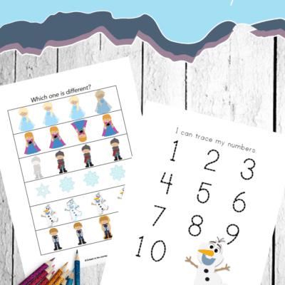 Frozen Worksheets for Preschoolers