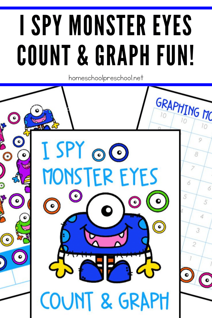 This October, kids will count and graph their way through this Monster Eyes I Spy for preschoolers activity. It's great for Halloween or Letter M activities!