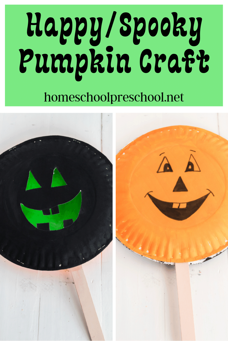 Here's a fun happy/spooky paper plate preschool pumpkin craft that is perfect for your autumn and/or Halloween activities.