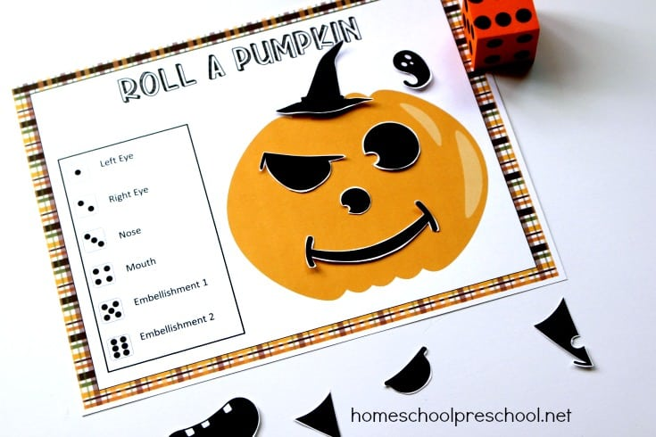 Grab your copy of this printable Roll a Pumpkin game! It's perfect for your preschool Halloween festivities at home or in the classroom.