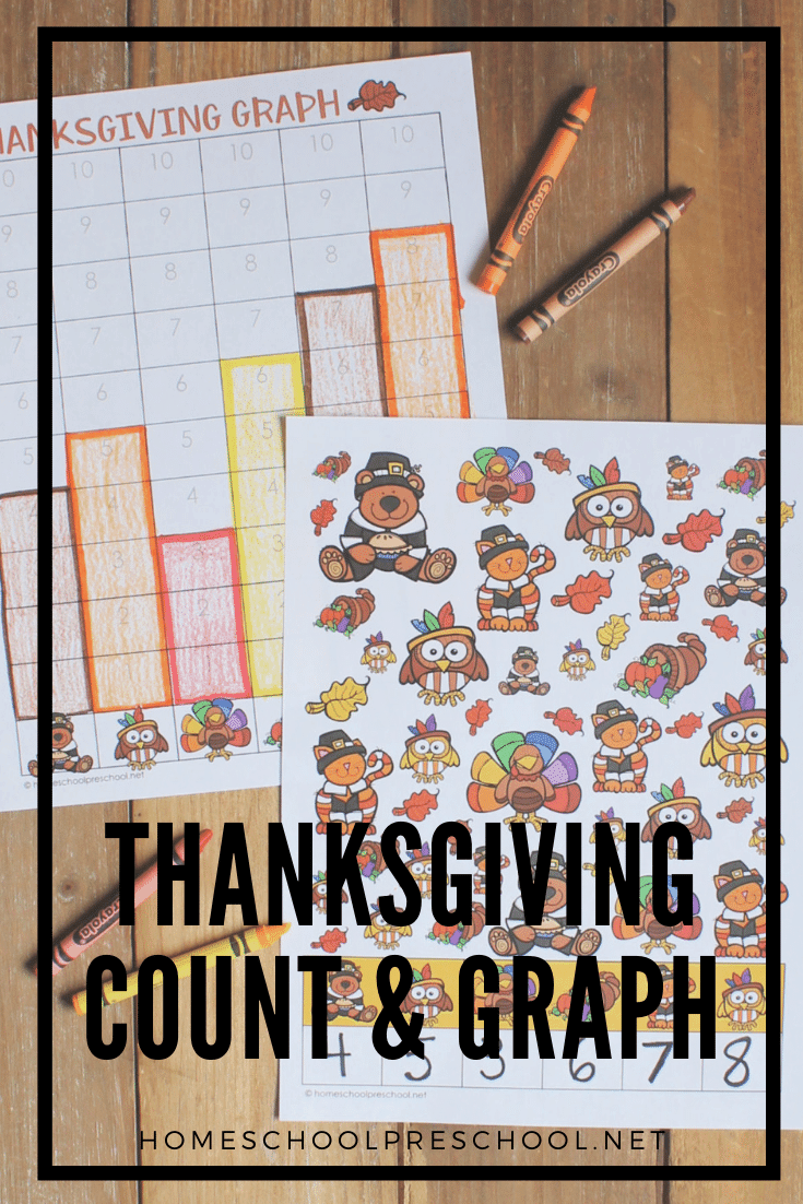 Add this Thanksgiving count and graph activity to your holiday math centers. This activity is perfect for preschool and kindergarten kiddos.