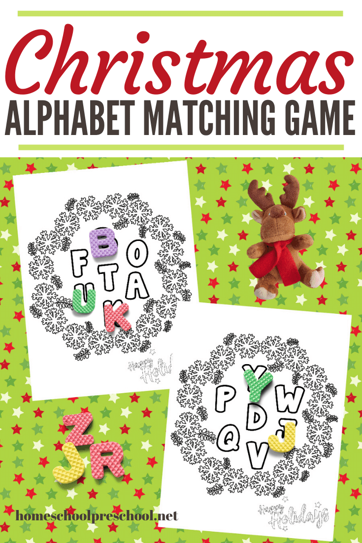 Preschoolers can work on letter recognition and matching with this fun Christmas alphabet game. All you need is letter magnets and this free printable.