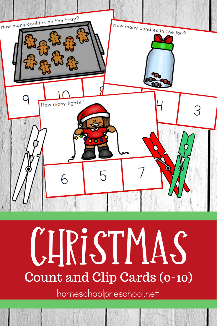 Practice number recognition and counting to ten with these festive Christmas count and clip cards. Perfect for holiday math activities!