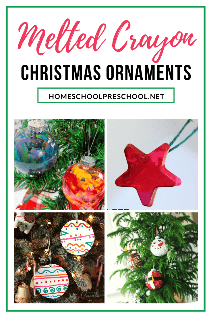 Save your old, broken crayon bits, and turn them into a work of art when you and your kids make melted crayon ornaments for the Christmas tree!