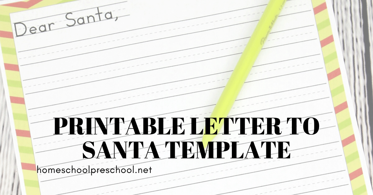 Printable Letter To Santa Template For Preschoolers