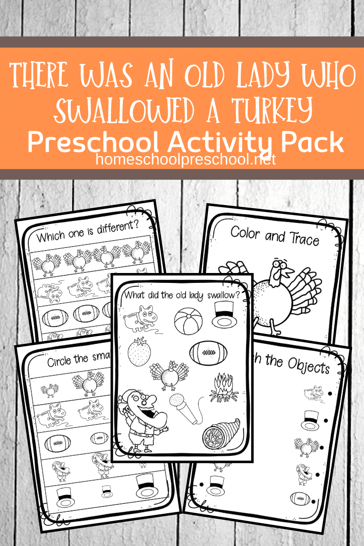 Focus on early math and literacy skills when you add these There Was an Old Lady Who Swallowed a Turkey activities to your holiday preschool lessons.