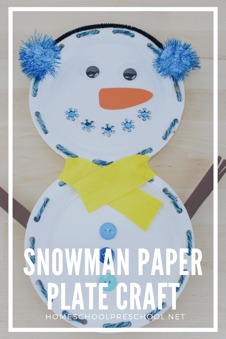 This snowman paper plate craft is easy to make and absolutely adorable! Add this winter craft to your snowman activities for preschool.