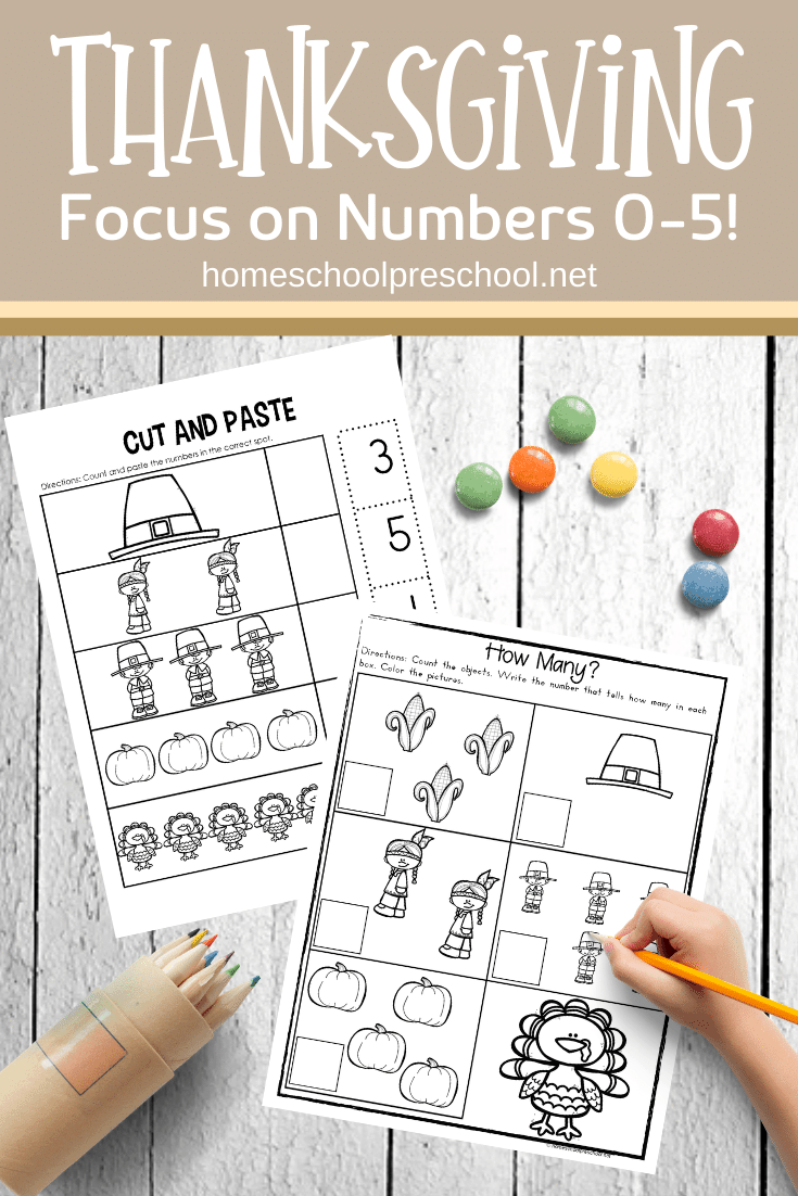 Be sure to add these Thanksgiving math worksheets to your holiday plans. Kids will focus on number recognition and counting from 0-5.