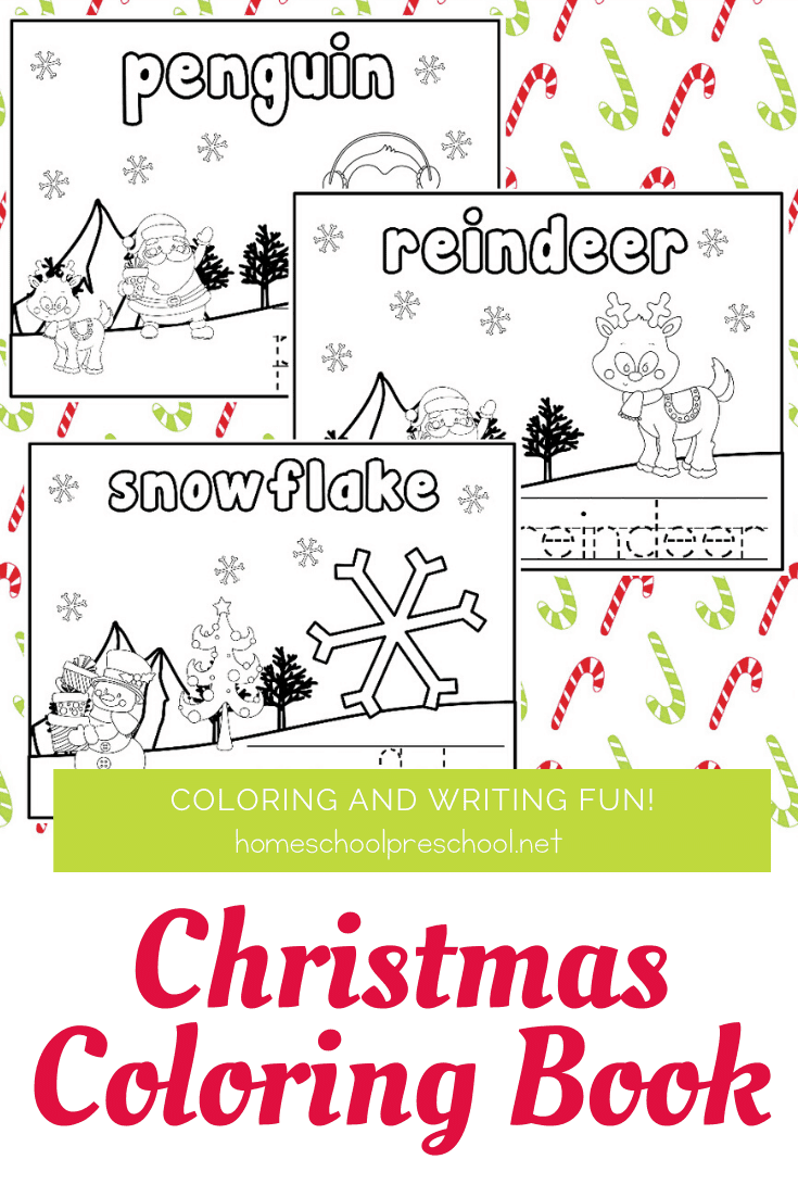 Add these Christmas preschool coloring pages to your holiday festivities. Bind them into a coloring book or use them individually.