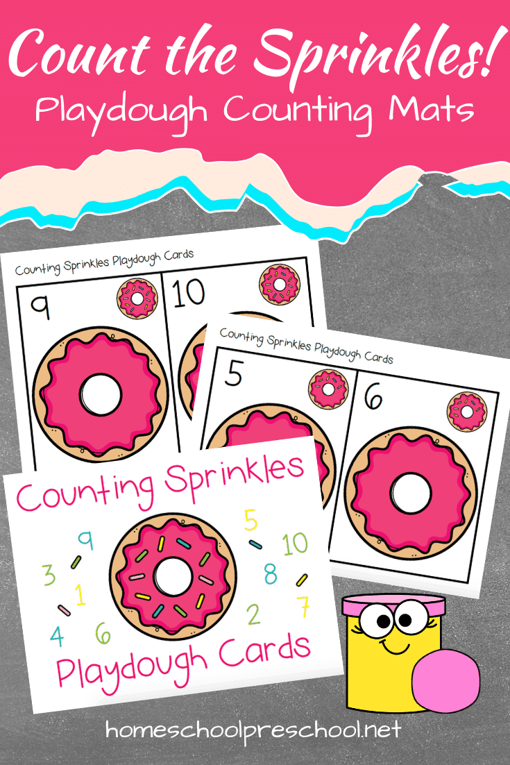 These donut playdough cards are the perfect way to have your preschoolers practice counting to ten! Rolling out playdough sprinkles is a great way to build fine motor skills, too!