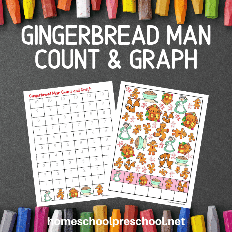 Grab these Gingerbread Man count and graph worksheets to add to your holiday math centers. They are perfect for preschool and kindergarten!