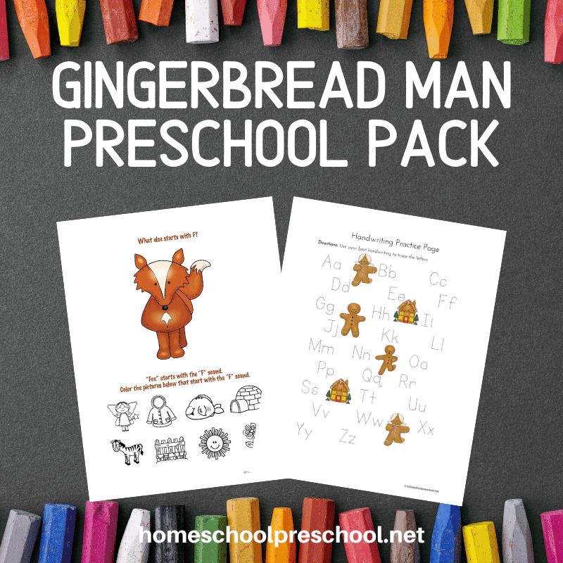 This gingerbread theme preschool pack is perfect to use alongside the story, but it works well as a stand-alone unit, as well!